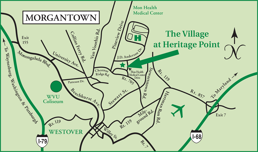 the village at heritage point map and directions